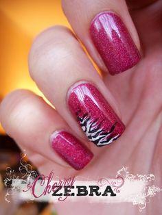 zebra and pink nail art