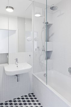 łazienka / bathroom our project #idea #elegant #blackandwhite #bathtub #patterns  #minimal #inspiration #interiordesign #inspiracje #wnętrza Corner Bathtub, Bathroom, Minimal, Home, Washroom, Full Bath, Ad Home, Homes, Bath
