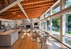 Luminous modern home surrounded by beautiful woods in Massachusetts Modern Mansion, Earthship, Sliding Glass Door, Glass Doors, Sliding Doors, Architect Design, Living Area, House Plans, Sweet Home