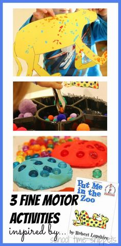Enjoy 3 fun fine motor activities for your toddler inspired by Dr. Seuss's book, Put Me in the Zoo. Activities include using q-tips, play dough, and pom poms. Zoo Activities Preschool, Toddler Fine Motor Activities, Activities For Kids, Preschool Library, Spring Activities, Learning Activities, Dr Seuss Week, Dr Suess, Zoo Book