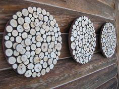 Rustic Wood Slice Wall Sculpture   Set of by RusticModernDesigns, $375.00