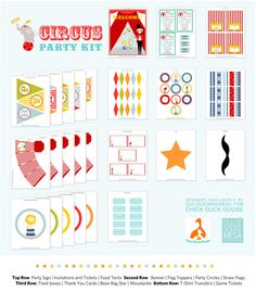 Circus Party Kit Party Kit, Party Ideas, Game Tickets, Circus Party, Party Signs, Thank You Cards, Banner, Kid, Invitations