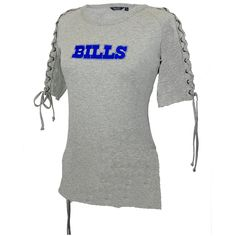 womens lace up Buffalo Bills jerseys | Buffalo Bills T-Shirt – Shoulder Lace Top – Women's