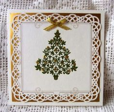 Punced frame and christmas tree stamp with embossing Christmas Craft Projects, Crafts To Make, Christmas Tree, Stamp, Cards, Decor, Teal Christmas Tree, Decorating, Xmas Trees