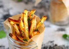 baked garlic cilantro fries - The Talking Kitchen