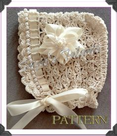 PATTERN PT30- Baby Bonnet with Beads, Crochet Baby Bonnet, Crochet Baby Hat With Beads. $6.50, via Etsy.
