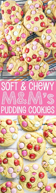M&M Pudding Cookies: with a rich vanilla flavor and the  crunch of M&Ms, these soft and chewy cookies are hard to beat!  via @bnsnbrnrbakery