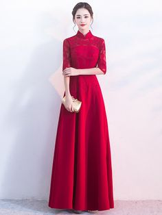 Chinese wedding dress QiPao Kwa Cheongsam 32 mid waist Pregnancy Style high