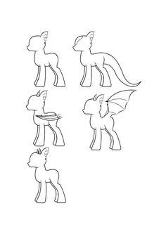 MLP: FiM Side View Male Dragon Ponies by LoneWHunt