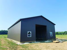 Pole Barn in Clyde, Ohio. Post Frame Building, Building Code, Frame Layout, Pole Buildings, Metal Siding, Pole Barns, Ohio, Outdoor Structures, Metal Fence