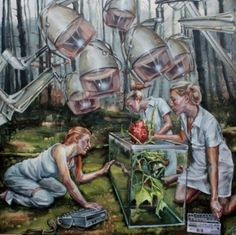 """Justine Otto, Zeit für Plan B, """"Three women dressed like lab workers are… Paranormal, Nalini Malani, Pegge Hopper, Hung Liu, Late Middle Ages, Triple Goddess, Taoism, Contemporary Artwork, Painting & Drawing"""