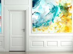 gorgeous watercolor wall.