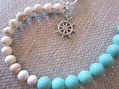 Bauble Bracelet - Turquoise, White, & Silver - Rudder Charm - Toggle Clasp