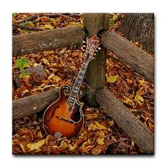 Ibanez Mandolin Leaning On Fence Tile Coaster ($5.99)