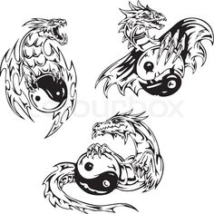 Stock vector of 'Dragon tattoos with yin-yang signs'