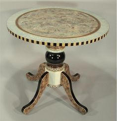 Round Pedestal End Table from Suzanne Fitch Handpainted Furniture