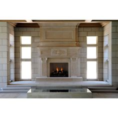 Large Limestone Fireplace Mantel ❤ liked on Polyvore