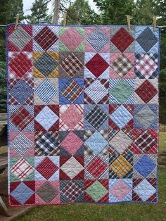 Square in a Square using plaid men's shirts. ...an idea for using up my shirt…