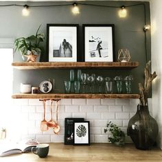 Scandinavian Kitchen Design Interior of the All White and Beautiful Tiny Kitchen - Home Ideaz Kitchen Lamps, New Kitchen, Kitchen Lighting, Kitchen Tiles, Wooden Shelves Kitchen, Kitchen Colors, Green Kitchen Walls, Kitchen Shelf Decor, Plants In Kitchen