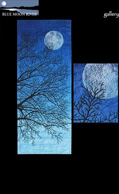 "Susan Brubaker Knapp I See The Moon 24"" x 60"" (2012). Original design. White cotton fabric, acrylic textile paints, acrylic ink, cotton threads, wool/polyester batting, commercial batik (for backing). Free-motion machine quilted. Susan: When I was a child, my parents used to sing me a bedtime song that went: I see the moon, the moon sees me Shining down through the big oak tree Please let the moon that shines on me Shine on the ones that I love."