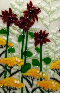 Summer Flowers - Fused Glass from Delphi Artist Gallery Glass Plate Flowers, Glass Birds, Art Flowers, Fused Glass Art, Mosaic Glass, Glass Fusion Ideas, Glass Fusing Projects, Kiln Formed Glass, Stained Glass Patterns