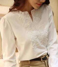 Resultado de imagem para blusas de chiffon branca