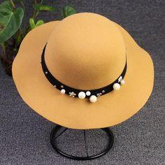 Vintage Bucket Hat Pearl Wide Brim Wool Fedoras dc3539e1f7ba