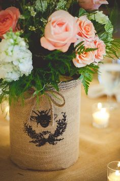 Honey Bee Burlap Centerpieces | Courtney & Dustin | Nickerson-Campbell Wedding |Caroline Maxcy Photography
