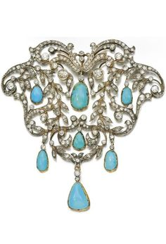 Turquoise and diamond devant de corsage, late 19th century. Of openwork foliate scroll design set with cushion-shaped, circular-cut and rose diamonds, suspending seven turquoise drops, detachable brooch pin to reverse. #antique #BelleEpoque #corsage