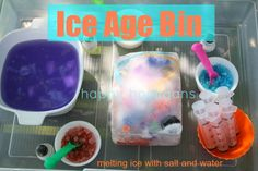 Ice Age Bin - melting ice with salt and water. Great mix of science, ice and water play. fun my my littles while studying the Ice Age in MOH Ice Play, Water Play, Summer Activities, Toddler Activities, Diy Water Toys, Water Experiments For Kids, Projects For Kids, Crafts For Kids, Sensory Bins