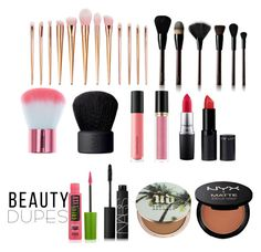 """Inexpensive dupes"" by lacey-rose-fashion on Polyvore featuring NARS Cosmetics, Maybelline, New Look, Kevyn Aucoin, Bare Escentuals, Revlon, MAC Cosmetics, Urban Decay, NYX and beautydupes"