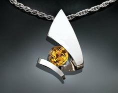citrine pendant necklace - statement necklace - November birthstone