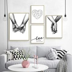 Love Is The Answer Nordic Style Black White Canvas Prints Hand In black and white wall art - Wall Art Black And White Wall Art, White Walls, Black White, Black Art, Living Room Pictures, Wall Art Pictures, Pineapple Art, Canvas Wall Art, Canvas Prints