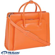@Overstock - Sleek, contoured briefcase features a top zipper, allowing easy access to the main compartment     Front organizer zipper section with storage space for media devices, business cards and more    Women's briefcase includes leather shoulder straphttp://www.overstock.com/Luggage-Bags/McKlein-Womens-Orange-Lake-Forest-Italian-Leather-Laptop-Tote-Bag/3665461/product.html?CID=214117 CAD              158.23
