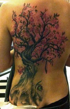 tree tattoo  back  cherry blossom  hand root