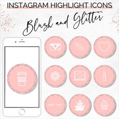 Instagram Story Highlight Icons   80 Blush and Glitter Instagram Highlights   Instagram Covers   Canva Templates   Instagram Icons   #rosegold #instagramicons #instagramcovers #highlightcovers #socialmediaicons #highlighticons #instagramtemplates #instagram #instagramstories Business Advice, Online Business, Make Money Blogging, How To Make Money, Social Media Icons, Instagram Highlight Icons, Story Highlights, Blogging For Beginners, As You Like