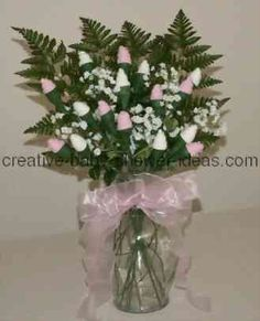 bouquet of pink and white baby sock roses