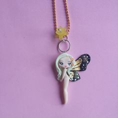 Sign taurus butterfly necklace in fimo polymer clay by Artmary2