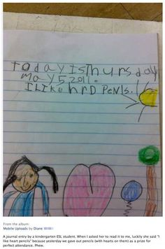 Check out this funny photo of a kid's drawing that says she loves heart pencils (but it looks like 'hard penis'), on NickMom.com!