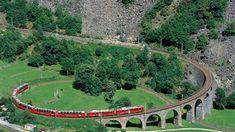 Bernina Express runs from Chur to Tirano, through 55 tunnels and over 196 bridges, (Unesco World heritage) , Switzerland