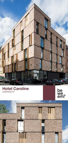 """Hotel Caroline enjoys a central location near Vienna's main train station. The new façade is clad with bricks, a nod to the history of Vienna's 10th district, which still boasts a number of historical industrial buildings. The interior breaks with the """"rough"""" look of the exterior and has a milder effect. PROJECT_Hotel Caroline DEPARTMENT_Hospitality LOCATION_Vienna Image: ©Wolf Silveri Train Station, Bricks, Vienna, Hospitality, Facade, Maine, Buildings, Wolf, Multi Story Building"""