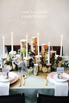 DIY gold leaf bark centerpieces http://ruffledblog.com/diy-gold-leaf-branch-centerpiece #weddingideas #centerpieces #diyproject