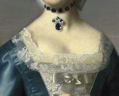 John Singleton Copley, Anne Fairchild (detail), 1763, necklace with drop pendant.