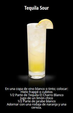 Tequila Sour #TequilaElCharro Dessert Drinks, Bar Drinks, Non Alcoholic Drinks, Wine Drinks, Cocktail Shots, Cocktail Recipes, Scottish Gin, Detox Diet Drinks, Daiquiri