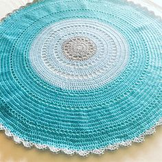 Teal Bule and Grey Crochet Round Baby Blanket