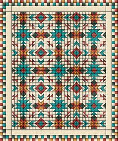 This Quilt uses the design elements and the beautiful colours of the Southwest…