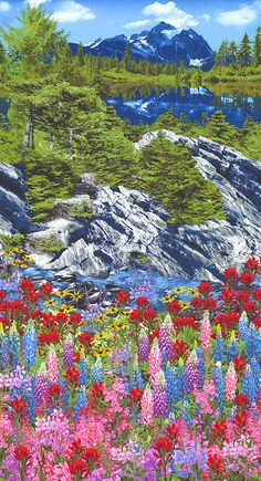 """Botanical Trail - Wildflower Mountain Border - 24"""" x 44"""" PANEL - Quilt fabrics from www.eQuilter.com"""