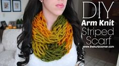 DIY arm knittings audra kurtz - YouTube with stripes in 3 colors watched uses dif method to cast on than does on H watched