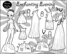 Elegantly dressed black and white paper doll to print and color.