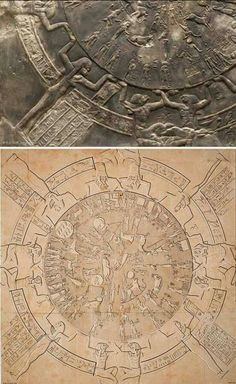 An example of a late Egyptian astronomical depiction carved on the ceiling of the chapel of Osiris, temple ofDendera, from the end ofthe Ptolemaic period (first century B.C.). Size of the original: 2.55 x 2.53 m. By permission of the Musee du Louvre, Paris